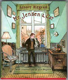 "Jensen & Cat"", Lenore Blegvad (illustrated by Erik Blegvad) 1965 Art And Illustration, Book Illustrations, Cover Art, New Yorker Covers, Best Book Covers, Vintage Children's Books, Vintage Ideas, Book Cover Design, Cat Art"
