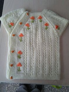 """Bebek örgü yelek [ """"Simple embroidery on a simple vest."""" ] # # #Baby #Knitting, # #Simple #Embroidery, # #Baby #Dress, # #Layette, # #Olives, # #Vests, # #Projects, # #Tissue, # #Babe"""