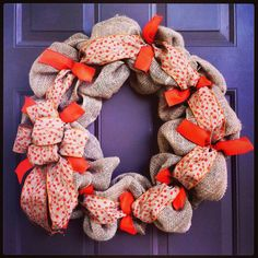 Fall Burlap Wreath for Front Door with Ribbon Deco Mesh Style on Etsy, $50.00