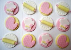 Fondant Cupcake Toppers  Sweet Little Baker by CakesAndKids, $15.95