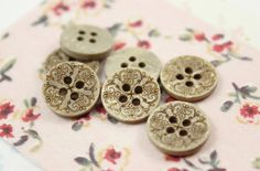 Wooden Buttons - Set 10 Mandala Pattern Small Wood Buttons.  0.51 inch by Lyanwood, $3.00