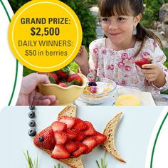 Enter the Driscoll's Every Day Is Better With Berries Contest and Sweepstakes to win the Grand Prize: $2,500 check. 89 1st Prizes (1 per day) will also be given away: 25 Driscoll's Berries coupons.  The promotion is open to the current legal residents of the USA and Canada (-PQ), above the age
