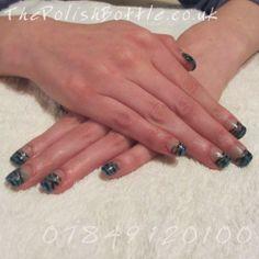 Gelish Hard Gel extensions with glitter zebra print nail art