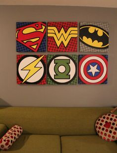 Superhero wall art for the nerd room Diy Design, Wall Design, Design Ideas, Superhero Wall Art, Superhero Canvas, Batman Pop Art, Superhero Emblems, Boys Superhero Bedroom, Superhero Room Decor