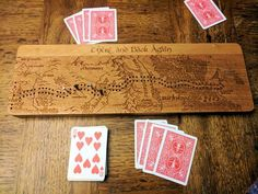 Had fun making a There and Back Again Hobbit Cribbage Board. Done on Cherry Wood Wood Projects, Projects To Try, Handmade Wooden, Handmade Gifts, Handmade Products, Wood Games, Cribbage Board, Just A Game, Diy Games
