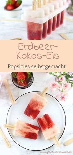 Selbstgemachtes Erdbeer-Kokos-Eis am Stiel - #eis #popsicle #eisamstiel #erdbeeren #vegan #erdbeerzeit #erdbeerkokoseis Pop Sicle, Ice Ice Baby, Monkey Business, Cantaloupe, Ice Cream, Yummy Food, Vegetables, Fruit, Recipes