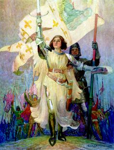 """The Warrior Maid. Frontispiece by Frank E. Schoonover to """"Joan of Arc"""" (1918)"""
