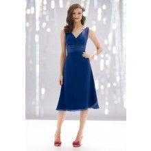 Crinkle Chiffon Cobalt Blue Bridesmaid Dresses TET643 - $112.00