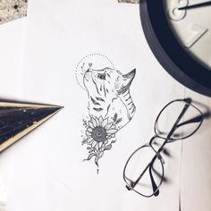 Artist: @nathalybonilla cat sunflower floral animal tattoo flash