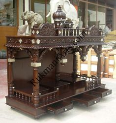 Wood Temple Designs for Home Wooden Temple For Home, Temple Design For Home, Temple Room, Home Temple, Indian Home Decor, Luxury Home Decor, Apartment Interior Design, Modern Interior Design, Pooja Door Design