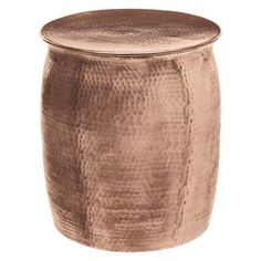 Horizon Plated Copper Hammered Rose Gold Aluminum Side Table Stool (Rose Gold Side Table / Stool), Clear, A. by Horizon Interseas Rose Gold Side Table, Copper Side Table, Gold Table, Sofa End Tables, Side Tables, Coffee Tables, Copper Decor, Aluminum Table, Unique Plants