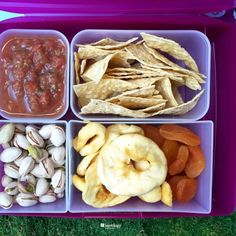 Cold and hot, both travel well in your bentology bento. Here you have tortilla chips and salsa, dried unsweetened apple rings, apricots and pistachios for protein and good fats
