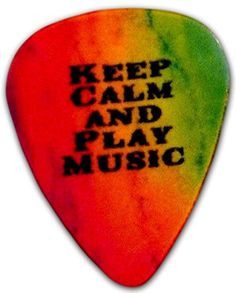 "Unique and Custom "".73 MM Thick - Medium Gauge Hard Plastic - Round Tip"" Guitar Pick with Abstract Rainbow Keep Calm and Play Music Text {Red, Yellow, Green and Black Colors - Single Pick} mySimple Products http://www.amazon.com/dp/B014JWDGXC/ref=cm_sw_r_pi_dp_UnSJwb0FVRC77"