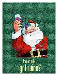 Humorous Custom Santa Christmas Eve Wine or Spirits Label - Forget milk, got wine