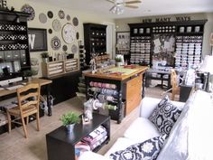 Craft, sewing room ideas | This post is very picture heavy, so grab a cup of your favorite ...