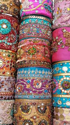 Vintage Sari Cuff Bracelets by Butterfly & Rose Sari Fabric, Fabric Beads, Fabric Jewelry, Fabric Material, Sewing Projects For Kids, Sewing For Kids, Indian Textiles, Turbans, Beaded Embroidery