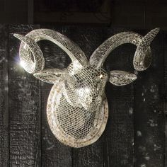 Mirrored Ram Animal Sculpture by anonymous. A perfect blend of taxidermy and disco - discodermy?
