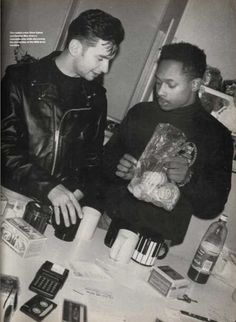 """Detroit techno pioneer Derrick May with Depeche Mode lead singer Dave Gahan. ca. 1989 """"They've set the standard in what they do. In America they've been able to please almost everyone, from a guy like me who's a hardcore dance addict, to the stadium crowds. They're right on time, right in synch, and they can't even help it."""" -Derrick May on Depeche Mode"""