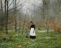 "Hans Andersen Brendekilde, "" The First Anemones "". ( 1889 ), olio su tela, x cm ). European Paintings, Lund, Beautiful Paintings, Figure Painting, Artist Painting, Art World, Spring Time, Les Oeuvres, Art History"