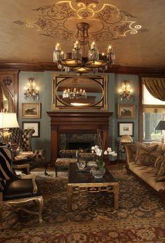 Art Deco design living room, classic Art Deco ceiling light, fire place and furniture.