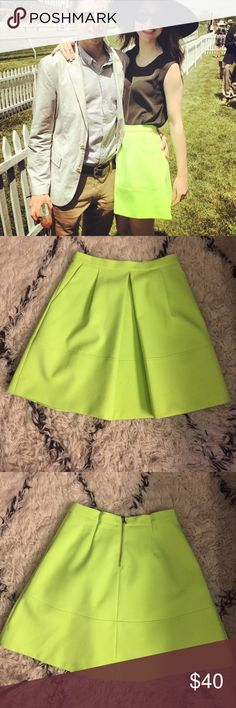 Jcrew lime skirt Cute J crew lime skirt with pockets. Overall good condition just a few pin marks at Back waist (needed to pin it as it was too big for me) J. Crew Skirts A-Line or Full