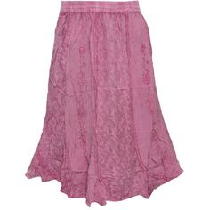 Women's Skirt Lovely Pink Embroidered Rayon Boho Skirts ❤ liked on Polyvore featuring skirts, rayon skirt, bohemian style skirts, viscose skirt, embroidered skirt and pink knee length skirt