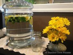 Cucumber, Mint and Lemon Infused Water @ Bamboo Core Fitness