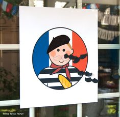 This French guy with his beret and baguette is missing his mustache! He's sure to please all the kids at any birthday party! Pin the mustache on the French guy game - Free printable from Press Print Party Birthday Games For Kids, Birthday Activities, Birthday Party Games, Spa Birthday, 10th Birthday, Birthday Ideas, Birthday Cake, Paris Party Decorations, French Themed Parties