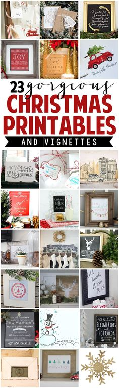 23 Gorgeous Christmas Printables with Vignettes and Display Ideas | DIY Christmas