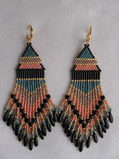 Seed Bead Earrings Beadwoven Peach/Dark Teal by pattimacs, $27.00
