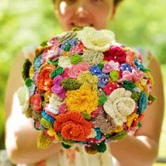 Crochet your wedding bouquet! @Megan Ward Ward Ward Luckey . . . if I ever get engaged, you will have to teach me how to crochet flowers!!! :)