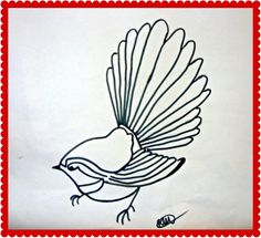 my fantail sketch to stitch Ameliorate Art Pictures, Art Pics, Wedding Graphics, Bird Applique, Maori Designs, Mosaic Birds, Nz Art, Stained Glass Birds, Applique Templates