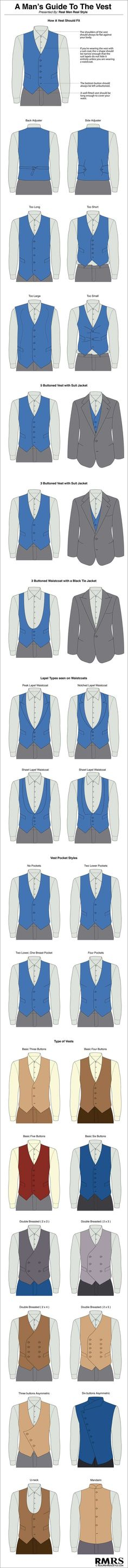 Gentlemen: ~ A Man's Guide To The Vest (Infographic). I hate the 6 button vest it looks weird to me Sharp Dressed Man, Well Dressed Men, Mode Man, Style Masculin, La Mode Masculine, Men Style Tips, Style Men, Suit And Tie, Gentleman Style