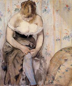 """ Woman Fastening her Garter "" - Édouard Manet - 1878 ( Impressionismo ) Pierre Auguste Renoir, Edgar Degas, Post Impressionism, Impressionist Art, Edouard Manet Paintings, Berthe Morisot, Claude Monet, Oeuvre D'art, Painting & Drawing"
