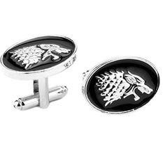 Blue Heron HBO Game of Thrones House Stark Direwolf Groomsman Wedding Gift Men's Boys Cufflinks with Gift Box