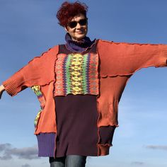 Excited to share this item from my #etsy shop: Orange Purple Patchwork Poncho for Women Gift for Her Upcycled Zero Waste Fashion Unique Handmade Poncho Sweater Colourful Vintage One Size Orange Is The New Black, Orange And Purple, Redo Clothes, Clothing Redo, Unique Fashion, Boho Fashion, Europe Fashion, Patchwork Dress, Poncho Sweater