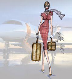 Jet set: 'travel in style' af hayden williams fashion illustratio