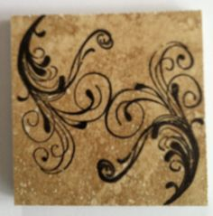 """From Huckbyshappilyeverafter.blogspot and pinned to my """"DIY, things I've made, or will make"""": coasters from 3x3 bathroom tiles (16 for $10.99 - 15% at Menards. Staz On Jet Black Ink, acrylic stamp, from circa 2009? P.S. Keep rubbing alcohol close by to wipe away mistakes, rinse, start again.  Also - I didn't use the turtle wax as in the org. post.  Didn't like the finish, but like the """"thirsty stone"""" effect."""