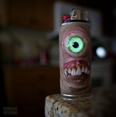 Created from clay and a metal sleeve for a bic lighter. Horror Crafts, Custom Lighters, Glass Pipes And Bongs, Hookah Lounge, Torch Light, Special Effects Makeup, Light Covers, Clay Animals, Chucky