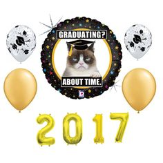 Graduation Balloons Grumpy Cat Balloon Package by PartySurprise