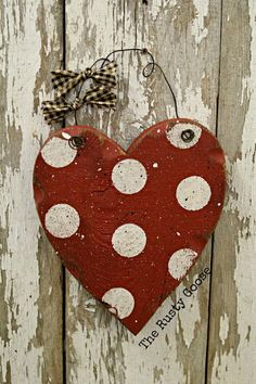 Valentines Day Decor Wood Heart Polka dot by therustygoose on Etsy, $15.95