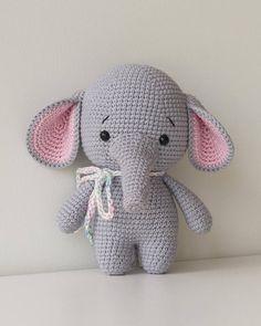 Juguetes de ganchillo gris Pink Elephant Esta super suave y mas lindo es de 15,5 cm. Fue cuidadosamente hecha a mano con los siguientes materiales: -algodón, hilado de acrílico de algodón -fibra de poliéster hipoalergénica (Hollowfiber) -dos ojos de juguete plástico seguridad asegurados