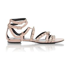 Studded nu pieds sandals-colorless by Saint Laurent. Saint Laurent Pale Blush (pale pink) leather Nu Pieds strappy sandals embellished with silvertone...