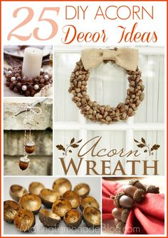 LOVE these sophisticated, pretty fall decor ideas using acorns! Plus they're practically free, since, you know, ACORNS. They transition beautifully into Thanksgiving and Christmas decor too.  #fall #DIY