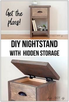 Hidden storage in this DIY bedside night table is perfect! Step by step how to video tutorial including woodworking plans! diy wood Easy DIY Nightstand With Hidden Compartment Woodworking Plans Pdf, Woodworking Furniture Plans, Beginner Woodworking Projects, Woodworking Crafts, Woodworking Magazines, Japanese Woodworking, Youtube Woodworking, Woodworking Basics, Woodworking Logo