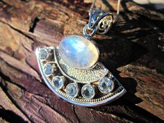 Moonstone & Topaz Aphrodite Necklace, 925 Silver Necklace, Hallmarked, Sterling Silver Large Rainbow Moonstone w Blue Topaz Gemstone Pendant