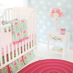 Project Nursery - Painted White Floor New Arrivals Pink and Aqua Crib Bedding