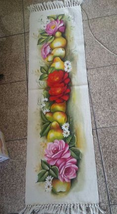 Floor Rugs, Lily, Flowers, Painting, Color, Painted Rug, Painting Carpet, Hand Painted Fabric, Painted Tables