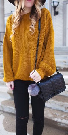 Mustard Knit / Black Quilted Leather Shoulder Bag / Black Skinny Jeans