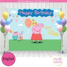 Peppa pig Birthday Peppa Pig Backdrop Peppa by PinkArrowStudio Peppa Pig Happy Birthday, Pig Birthday, Third Birthday, 4th Birthday Parties, Birthday Party Decorations, 1st Birthdays, Pig Party, Baby Party, Aniversario Peppa Pig